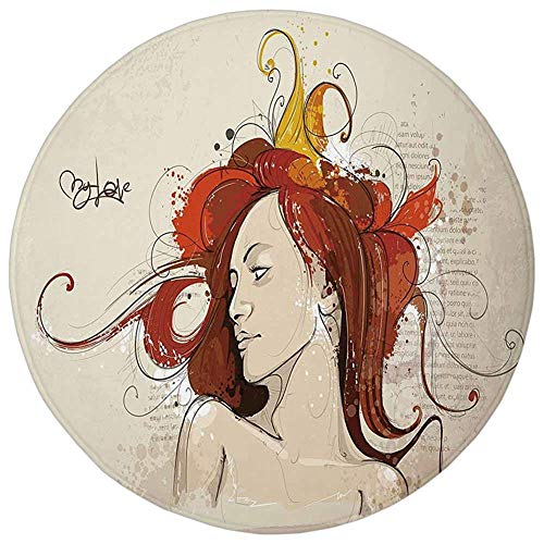 ZMYGH Round Rug Mat Carpet,Modern,Muse Woman Portrait in Grunge Style Elegance Hand Drawn Mystic Beauty Picture,Beige Dark Orange,Flannel Microfiber Non-Slip Soft Absorbent,for Kitchen Floor Bathroom - Oversized-muse