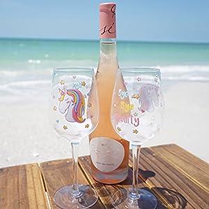 EinhornLiebe® Weingläser Set Einhorn Glas Bye Bye Reality Rotwein Weisswein 2 Stück im Geschenk Karton