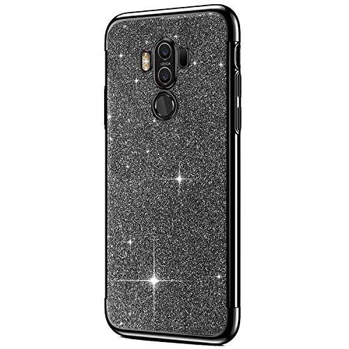 Felfy Kompatibel mit Huawei Mate 10 Pro Handyhülle Glitzer Luxus Bling Sparkle Glänzend Überzug Weich TPU Silikon Bumper Case Rückseite Stoßdämpfend Stoßfest Schutzhülle,Schwarz
