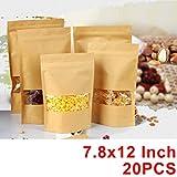 20Pcs Borse Craft Sacchetti Borse Seal Grip Con Finestra Trasparente Sacchetti Di Conservazione Degli Alimenti Sacchetto Di Imballaggio Per Chicco Di Caffè Foglia Di Tè E Snack (7,8x12)Inch