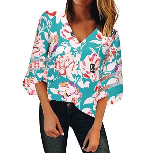 TEFIIR T-Shirt für Frauen, Preisnachlass für Oktoberfest, Leistungsverhältnis Frauen V-Ausschnitt Floral Mesh Panel 3/4 Bell Sleeve Beiläufige Geeignet für Freizeit, Urlaub und Dating - 3/4 Sleeve Floral Shirt