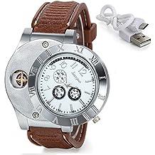 832cc9894bfd Avaner Reloj de Mechero 2 En 1 Recargable Sin Llama Reloj de Llama A Prueba  de