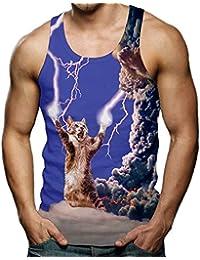 RAISEVERN 3D Grafik Drucken Ärmellose T-Shirts Lustige Muster Sommer Weste Muskelshirt Tank Top für Herren