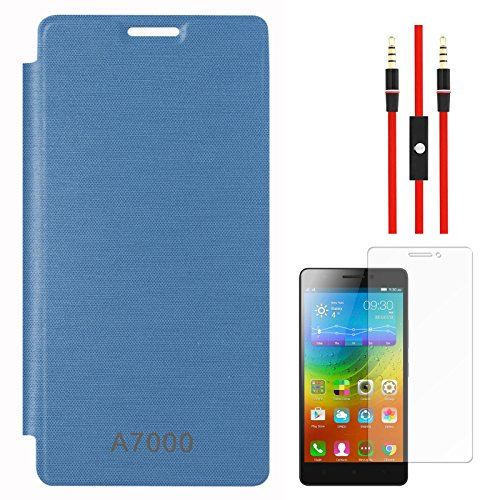 DMG Back Replace Flip Book Cover Case For Lenovo A7000 (Royal Blue) + AUX Cable + Matte Screen  available at amazon for Rs.299