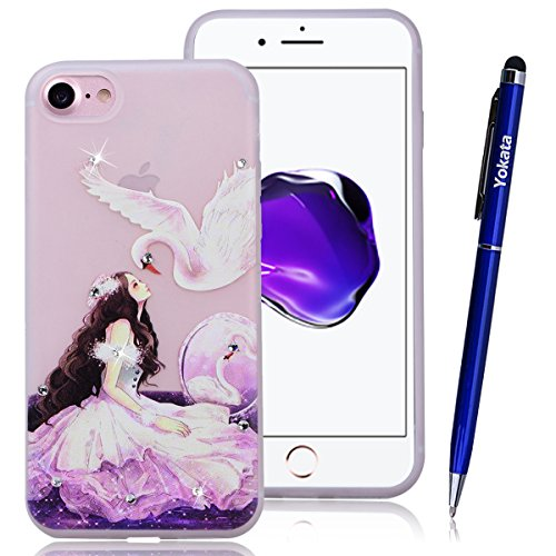 Yokata iPhone 7 Hülle Transparent Weich Silikon TPU Luminous Case mit Diamant Bling glitzer Handyhülle Schutzhülle Durchsichtig Clear Backcover Bumper - Kuckuck + 1 x Kapazitive Feder Mädchen und der Schwan