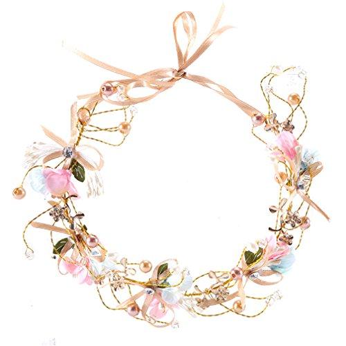Amorar Handgemachte Boho Blume Fliege Stirnband Haar Kranz Halo Floral Garland Krone für Festival Hochzeit, Kopfbedeckung mit Band