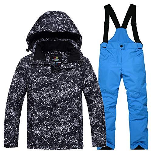 LPATTERN Traje de Esquí para Niños/Niñas Chaqueta Acolchada + Pantalones de Nieve Impermeables para Deporte de Invierno, Negro+Azul, 5-6 años/S
