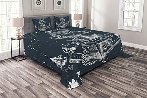 ABAKUHAUS Marine Tagesdecke Set, Knot Anker Kompass, Set mit Kissenbezügen Weicher Stoff, für Doppelbetten 220 x 220 cm, DunkelBlau-weiß