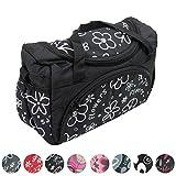 BAMBINIWELT Wickeltasche für Kinderwagen, Kinderwagentasche + Wickelunterlage (Flowers Schwarz)