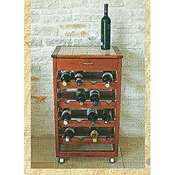 Carro botellero Prestige en madera maciza y Piano Azulejos Color Cerezo