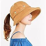 HAIPENG Gorra Pamelas Sombrero De Playa Mujer Gorra Extraíble Plegable Cuerda De Viento ala Ancha Playa, 6 Colores Opcional Sombrero para el Sol (Color : Jengibre)