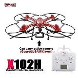 MODELTRONIC Nuevo Dron Radio Control MJX X102H con Sistema de altitud Estable y Soporte para Llevar Gopro/Listo para Volar/Botón de despegue y Aterrizaje automático