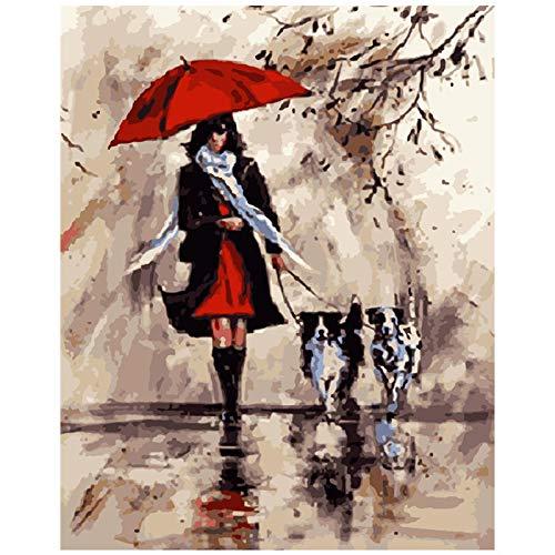 FULLLUCKY Malen Nach Zahlen DIY Roten Regenschirm Weiblich Und Hund Figur Leinwand Hochzeit Dekoration Kunst Bild Geschenk