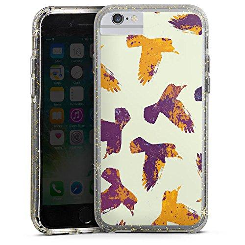 Apple iPhone 8 Bumper Hülle Bumper Case Glitzer Hülle Voegel Birds Raben Bumper Case Glitzer gold