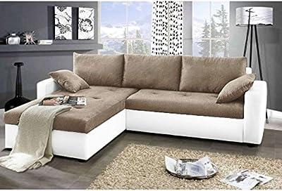JUSThome Focus Sofá esquinero chaise longue Tejido / Cuero sintético Tamaño 142x239x93 cm Varios tonos de Marrón y Negro