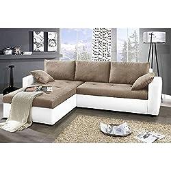 JUSThome Focus Sofá esquinero chaise longue función de cama Tejido / Cuero sintético Tamaño 142x239x93 cm 1115 Blanco / L-3 Brazo izquierdo