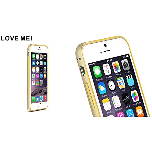 Love Mei Schutzhülle für iPhone 6Plus 14cm Luxus Aluminium Legierung Metall Rahmen Bumper Cover Champagne+Rose