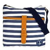 Umhängetasche Damen Schultertasche im Marine Look blau Uni gestreift Canvas Damentasche (blau-weiß...
