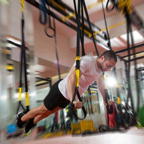 PhysioRoom - Sistema Para Entrenamiento de Suspensión - Tensores Suspension Trainer - Cuerdas Ejercicios Fitness - Kit Multifunción Gimnasia - Fortalecimiento, Resistencia y Tonificación Muscular - Color Negro / Amarillo