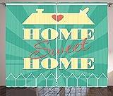 ABAKUHAUS Trautes Heim, Glück allein Rustikaler Gardine, Vogel-Herz-Dach, Schlafzimmer Kräuselband Vorhang mit Schlaufen und Haken, 280 x 245 cm, Hellgelb Dunkle Koralle Meeresgrün