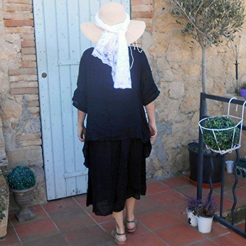 Coklico - Robe longue lin superposition - 44 46 48 Noir