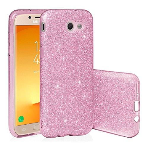EGO ® Glitzer Schutzhülle für Samsung J510 Galaxy J5 2016, Gold Back Case Bumper Glänzend Transparente TPU Bling Weiche Glamour Handy Cover Lipgloss Pink + Glas