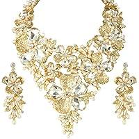 Ever Faith cristalli Swarovski perla artificiale elegant grande fiore Fashion drachensilber Set - trasparente-Argento-ton N05640-1