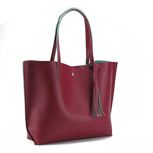 Mefly Borsetta Donna Moda Borsa Di Colore Semplice Claret Claret