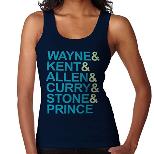 Justice League Character Surnames Women's Vest Navy blue