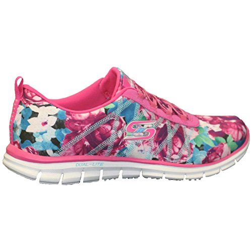 Skechers Glider Posies, Sneakers Basses Femme Hot Pink/Multi-HPMT
