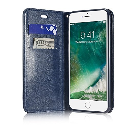 Mixed Color Stitching Style Double Side Magnetverschluss Ultra Slim Premium Leder Tasche mit Kickstand Card Slots für iPhone 6 / 6s ( Color : Black ) Blue