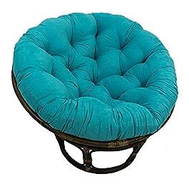 DLPY Hamac Papasan Coussin De Chaise Coton Rond Solid Color Berceau Accroché Swing Coussin De Chaise 48″ X 6″ X 48″ pour Intérieur Jardin-Bleu Diameter120cm(47inch)