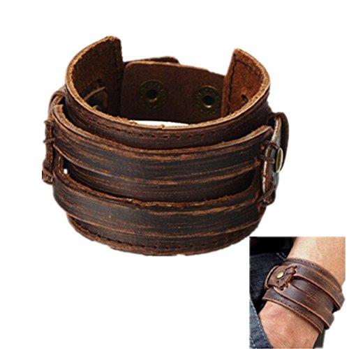 Mulba Uomo d'epoca in pelle marrone braccialetto del polsino, cuoio fascia di polso del Wristband gioielli artigianali Sl2256