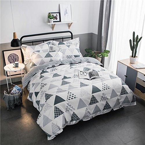 Zhiyuan funda nórdica funda de almohada y sábana con triángulo y rayas, Cama de 150cm