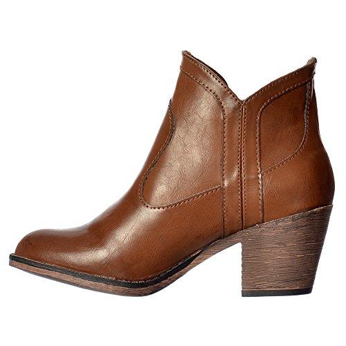 Sidney Bromley Blocco Occidentale Tallone Caviglia Scarpone Da Donna - Nero, Marrone, Whisky Rocket Dog Femminile Marrone