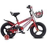 1-1 Kinder Fahrrad, Verstellbare Höhe Doppelbremse Rutschfest Sicherheit Jungs Mädchen Kinder Draussen Radfahren Spielzeug 16 Zoll,Red