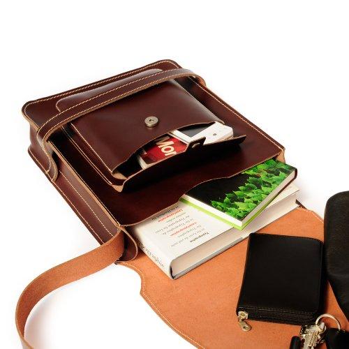 Herren Handtasche Größe M / Umhängetasche aus Büffel-Leder, A4 Hochformat, Grau, Jahn-Tasche 685 Braun