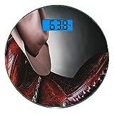 Bilancia digitale di precisione tondo Decorazioni occidentali Misurazioni accurate del peso della bilancia pesapersone in vetro ultra sottile,Sella da cavallo con un cappello da cowboy Wild Texas Fash