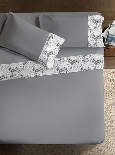 Ipersan Classic Elegance Armonie Completo con Bordo Fotografico, Cotone, Grigio e Bordo Grigio, Matrimoniale