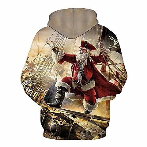 Sfit Unisex Homme/Femme Pull Hoodie Sweat à Capuche Manches Longues Père Noël Pirate Casual pour Printemps Automne