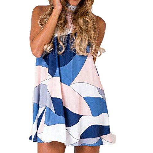 Bekleidung Longra Elegant Damen Sommerkleid Minikleid Casual Halter Blätter Druck Schulterriemen Strandkleider (M/36, Multicolor)