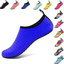 AGOLOD Chaussettes de Sport Aquatique de Nager de Surf de Yoga et de Plage Pieds Nus à Séchage Rapide Aqua Chaussettes Slip-on Chaussures d'eau pour Enfants Hommes Femmes