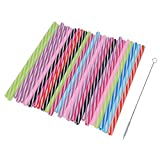 #6: MagiDeal 25x Mixed Color Reusable Hard Plastic Replacement Stripe Drinking Straws with Cleaning Brush Home Party Baby Shower Mason Jar Tumblers Accessories