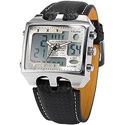OHSEN Mens Digital Sport Quartz Leather Band Wrist WatchGift OHS034