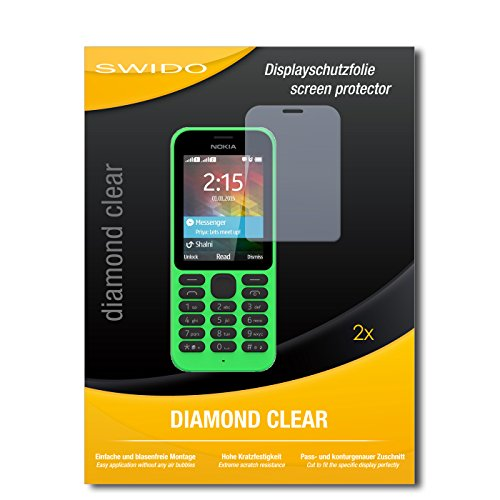 SWIDO 2 x Bildschirmschutzfolie Microsoft Nokia 215 Dual SIM Schutzfolie Folie DiamondClear unsichtbar
