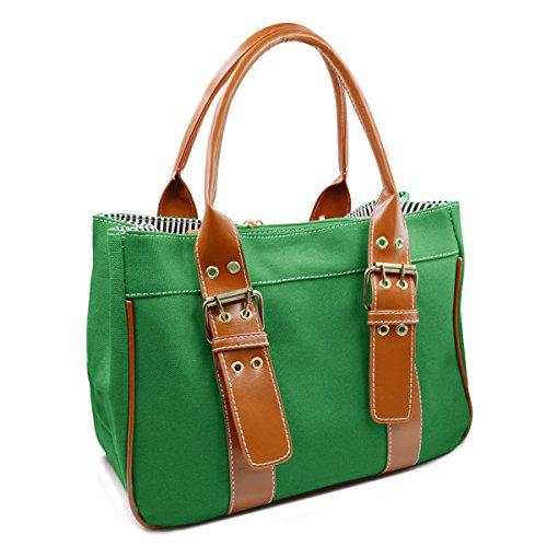 Millya Simply Style-Borsa in tela, taglia M, Nero (nero), Taglia unica Verde (verde)