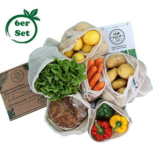 bun-di ECO Wiederverwendbare Obst- und Gemüsebeutel aus Baumwolle inkl. Saisonkalender und Brotbeutel | Nachhaltige Einkaufsnetze | Obstnetze | Gemüsenetze mit Gewichtsangabe (6er Set)