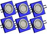 Trango 6er Set Design Einbaustrahler aus blauem Glas ECKIG & Alu inkl. 6x 3.0 Watt LED Leuchtmittel & GU10-Anschlusskästen