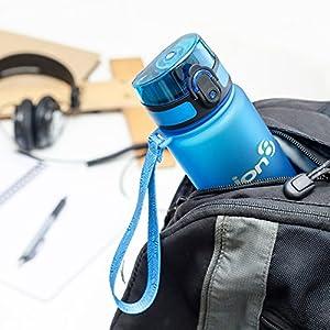 Ion8- Bottiglia per l'acqua, a prova di perdite, senza BPA., Bambino, Leak Proof BPA Free, Frosted Blue, 500 ml