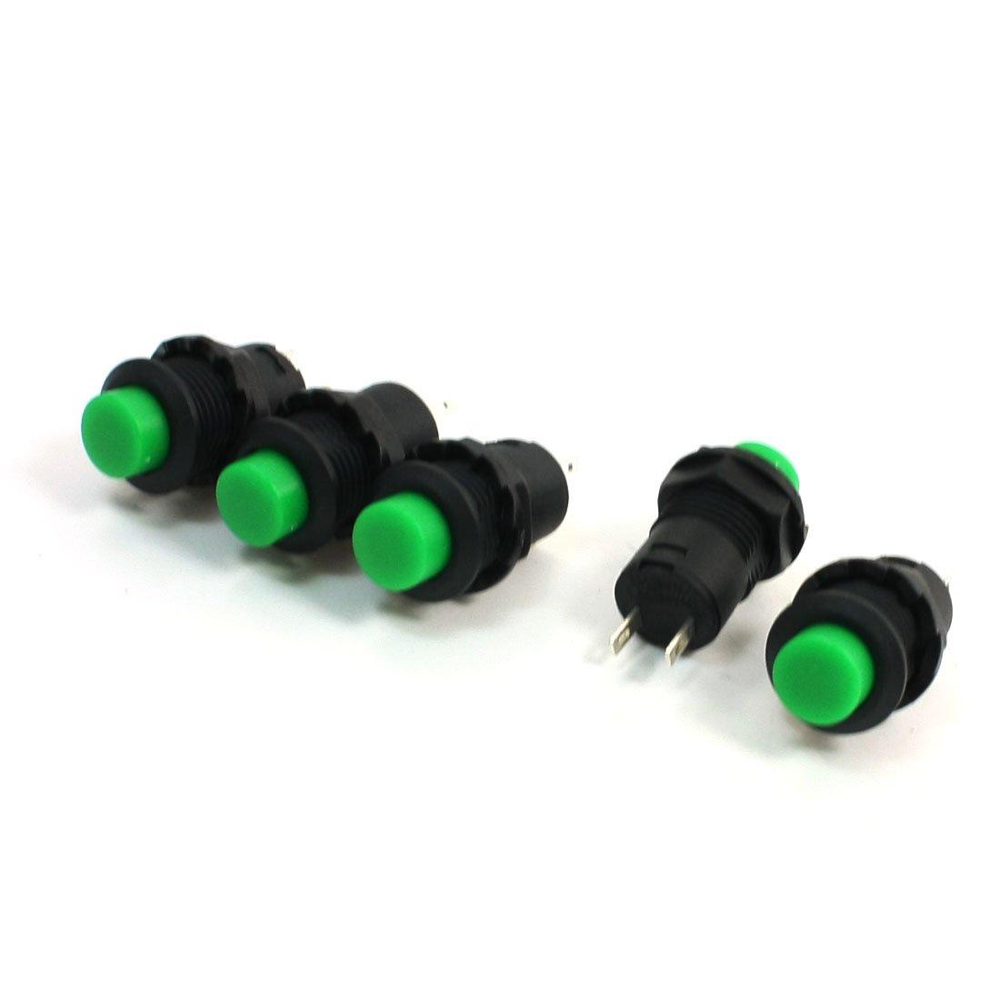 5pezzi verde ritenuta interruttore di pulsante spst 125 v ca 3a 250vAC 1.5a